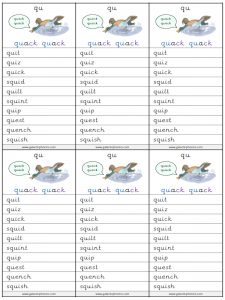 qu spelling lists