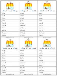 sh spelling lists
