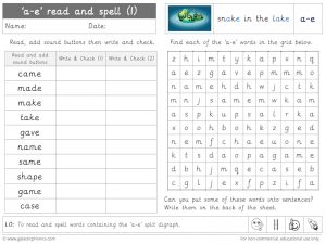 a-e (split digraph) read and spell worksheet (1)