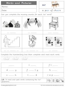 air words and pictures worksheet