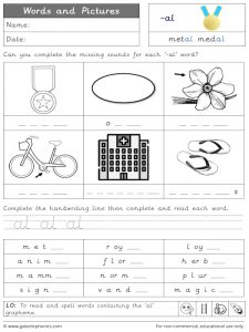 -al words and pictures worksheet