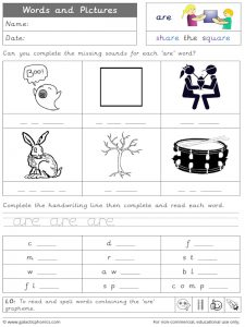 are words and pictures worksheet