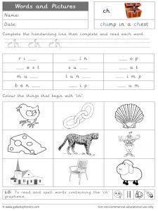 ch word and pictures worksheet