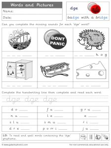 dge words and pictures worksheet