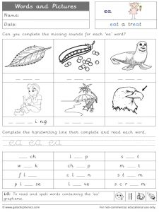 ea words and pictures worksheet