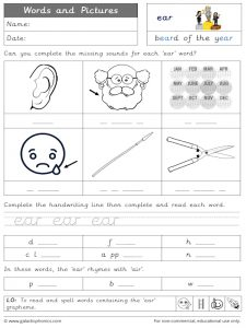 ear words and pictures worksheet
