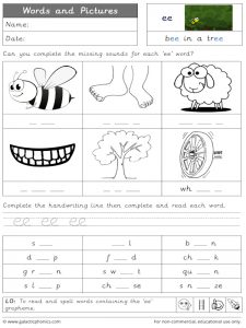 ee words and pictures worksheet