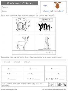 eer words and pictures worksheet