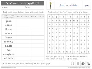 e-e (split digraph) read and spell worksheet (1)