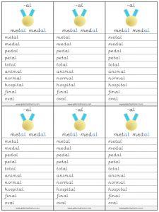 -al spelling lists