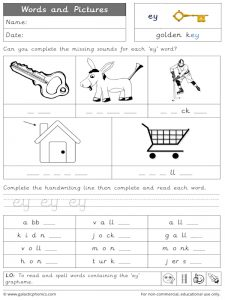 ey words and pictures worksheet