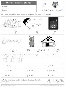 ff words and pictures worksheet