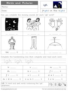 igh words and pictures worksheet