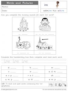 ire words and pictures worksheet