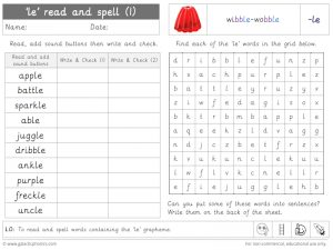 le read and spell worksheet