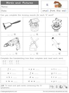 ll word and pictures worksheet