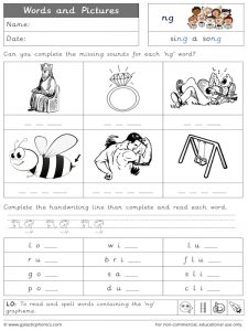 ng words and pictures worksheet