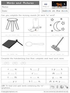 oo (long u) words and pictures worksheet