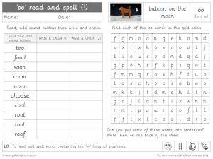 oo (long u) read and spell worksheet (1)
