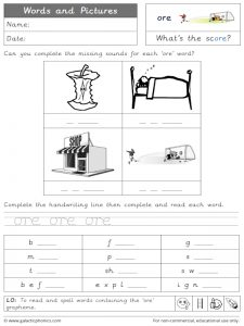 ore words and pictures worksheet