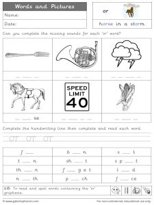 or words and pictures worksheet