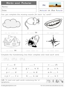 ou words and pictures worksheet