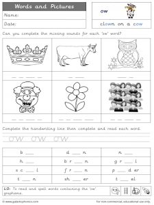 ow (cow) words and pictures worksheet