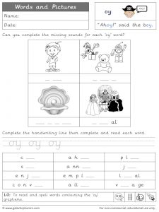 oy words and pictures worksheet