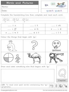 qu words and pictures worksheet