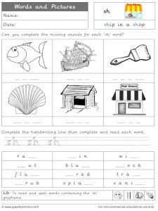 sh words and pictures worksheet