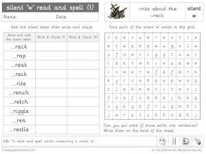 silent w read and spell worksheet