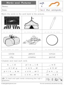 soft/gentle c words and pictures worksheet.