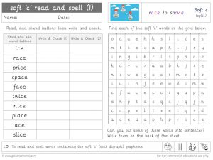 soft c (split digraph) read and spell worksheet