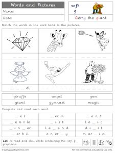 soft/gentle words and pictures worksheet