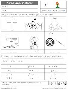 ss words and pictures worksheet