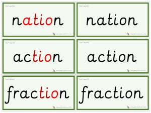 tion word cards