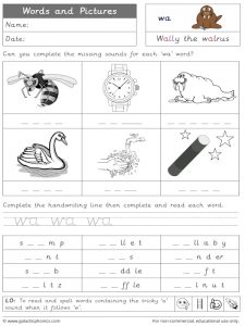 wa words and pictures worksheet