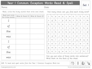 Year 1 Common Exception Words Set 1 Read and Spell Worksheet