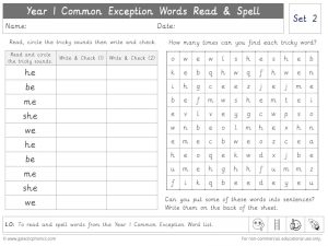 Year 1 Common Exception Words Set 2 Read and Spell Worksheet