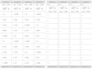 Year 1 CEW Set 4 Spelling Strips