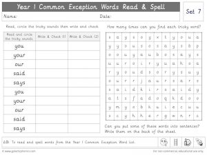 Year 1 CEW Set 7 Read and Spell Worksheet