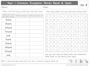 Year 1 CEW Set 8 Read and Spell Worksheet