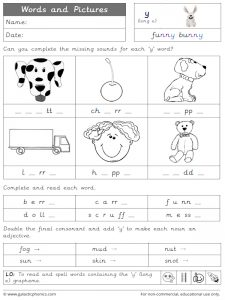 -y (long e) words and pictures worksheet